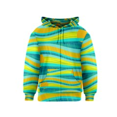 Yellow and blue decorative design Kids  Zipper Hoodie