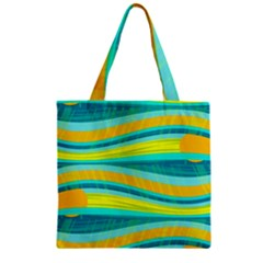 Yellow and blue decorative design Zipper Grocery Tote Bag