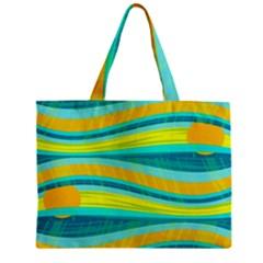 Yellow and blue decorative design Zipper Mini Tote Bag