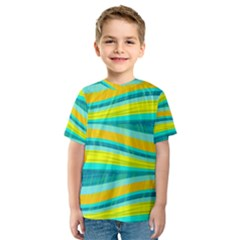 Yellow and blue decorative design Kids  Sport Mesh Tee