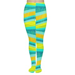 Yellow and blue decorative design Women s Tights