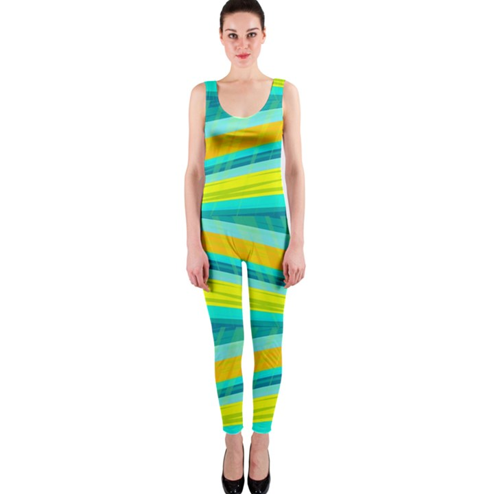 Yellow and blue decorative design OnePiece Catsuit