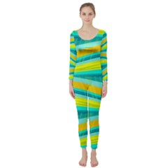 Yellow and blue decorative design Long Sleeve Catsuit