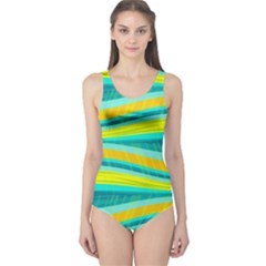 Yellow and blue decorative design One Piece Swimsuit