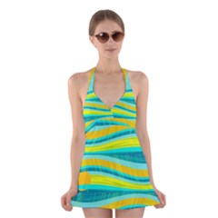 Yellow and blue decorative design Halter Swimsuit Dress