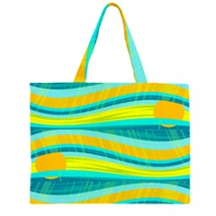 Yellow and blue decorative design Large Tote Bag