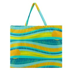 Yellow and blue decorative design Zipper Large Tote Bag