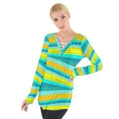 Yellow And Blue Decorative Design Women s Tie Up Tee