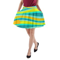 Yellow and blue decorative design A-Line Pocket Skirt
