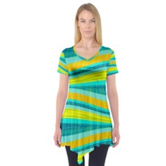 Yellow and blue decorative design Short Sleeve Tunic