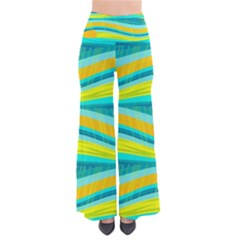 Yellow and blue decorative design Pants