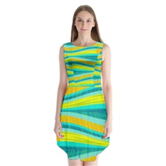 Yellow and blue decorative design Sleeveless Chiffon Dress
