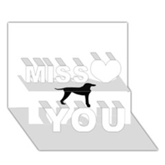 Curly Coat Rt Silo Black Miss You 3D Greeting Card (7x5)