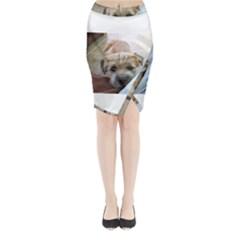 Border Terrier Begging Midi Wrap Pencil Skirt