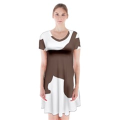 Newfie Silo Brown Short Sleeve V-neck Flare Dress
