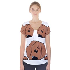 Peeping Rhodesian Ridgeback Short Sleeve Front Detail Top