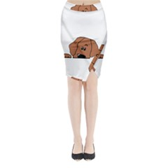 Peeping Rhodesian Ridgeback Midi Wrap Pencil Skirt
