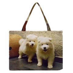 2 Samoyed Puppy Medium Zipper Tote Bag