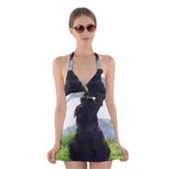 Scottish Terrier Sitting Halter Swimsuit Dress
