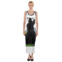 Scottish Terrier Sitting Fitted Maxi Dress