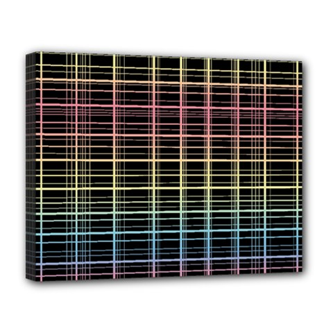 Neon plaid design Canvas 14  x 11