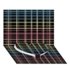 Neon plaid design Heart Bottom 3D Greeting Card (7x5)
