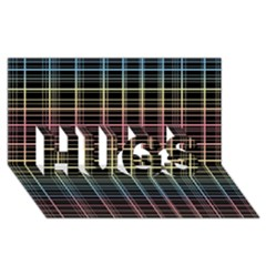 Neon plaid design HUGS 3D Greeting Card (8x4)