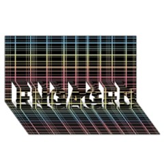 Neon plaid design ENGAGED 3D Greeting Card (8x4)