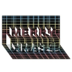 Neon plaid design Merry Xmas 3D Greeting Card (8x4)