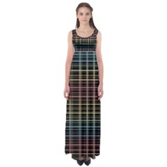 Neon plaid design Empire Waist Maxi Dress