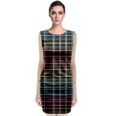 Neon Plaid Design Classic Sleeveless Midi Dress