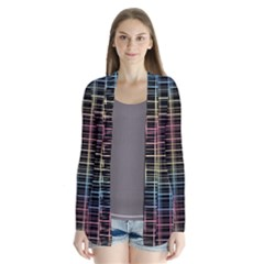 Neon plaid design Drape Collar Cardigan