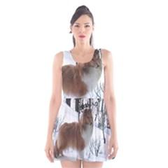Shetland Sheepdog Full Scoop Neck Skater Dress
