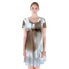 Shetland Sheepdog Full Short Sleeve V-neck Flare Dress