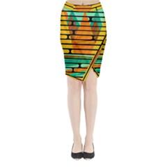 Decorative Autumn Landscape Midi Wrap Pencil Skirt