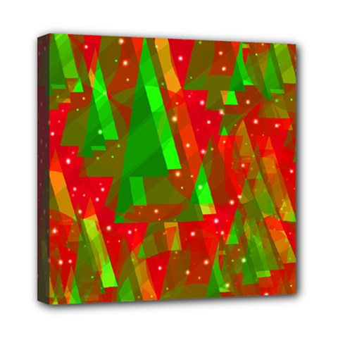 Xmas trees decorative design Mini Canvas 8  x 8