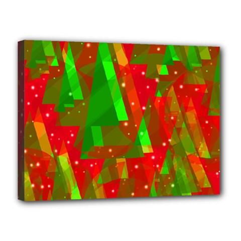 Xmas trees decorative design Canvas 16  x 12