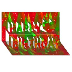 Xmas trees decorative design Happy Birthday 3D Greeting Card (8x4)