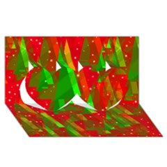 Xmas trees decorative design Twin Hearts 3D Greeting Card (8x4)