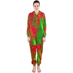 Xmas trees decorative design Hooded Jumpsuit (Ladies)