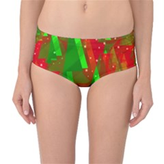 Xmas trees decorative design Mid-Waist Bikini Bottoms