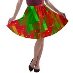 Xmas trees decorative design A-line Skater Skirt