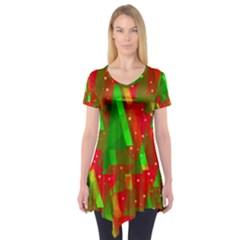 Xmas trees decorative design Short Sleeve Tunic