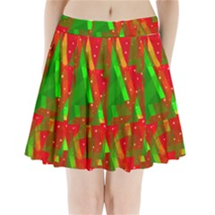 Xmas trees decorative design Pleated Mini Skirt