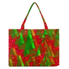 Xmas Trees Decorative Design Medium Zipper Tote Bag