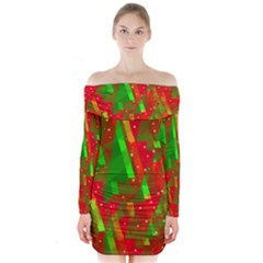 Xmas trees decorative design Long Sleeve Off Shoulder Dress