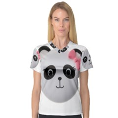 Pretty Cute Panda Women s V-Neck Sport Mesh Tee