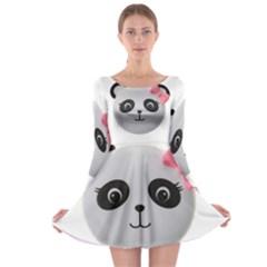 Pretty Cute Panda Long Sleeve Skater Dress