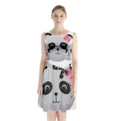 Pretty Cute Panda Sleeveless Chiffon Waist Tie Dress