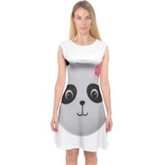 Pretty Cute Panda Capsleeve Midi Dress